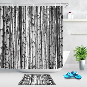 Black & White Birch Trees Shower Curtain Set Polyester Waterproof Fabric Hooks