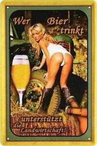 """Blechschild Lustiger Bier Spruch  """"Wer Bier trinkt"""" Deko Küche Kneipe 20x30 cm"""