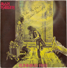 IRON MAIDEN Running Free FULLY SIGNED Vinyl Paul Di'Anno Clive Burr +5 AUTOGRAPH