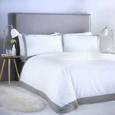 Madison Duvet Cover Set Bedding Contrast Border White Grey Hotel Style All Sizes