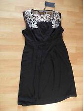 MEXX schönes Kleid schwarz m. weißer Stickerei Gr. 38 NEU ZC316