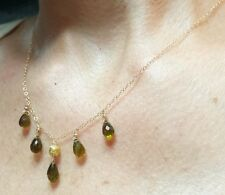 Green Sapphire 6ct briolette pear tear drop solid 18k 14k gold necklace pendant