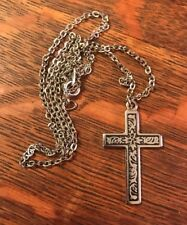Vintage Silver Religious Necklace Cross Silver Tone Chain 20 Inches