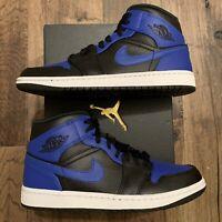 NEW Nike Air Jordan 1 Mid 'Hyper Royal' Black Men's Sizes [554724-077]