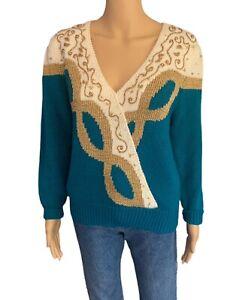 Dana Scott Sweater 80s Vintage Sweater Ruffled Shoulder Sweater - Women's Large