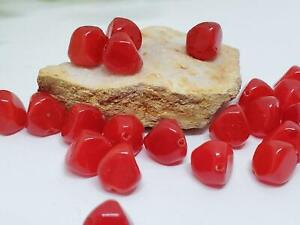 24 Vintage Smooth Bright Cherry Red Angular German Loose Glass Beads DIY Jewelry