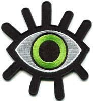 Evil Green Eye Illuminati All seeing Embroidered Iron On Sew On Badge Patch
