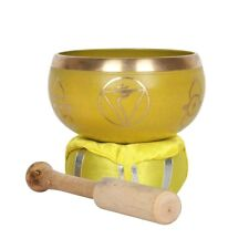 More details for yellow solar plexus chakra brass singing bowl with cushion & mallet in gift box