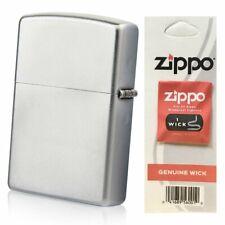Zippo Classic Satin Chrome Finish Genuine Lighter + Wick Bundle USA #205_2425_1