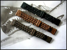 16mm Brown Hand Braided Military woven Leather watch band IW SUISSE 12-14-19-20