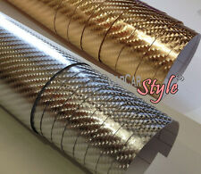 【4D Chrome VINYL 2 COLOUR】all size AIR FREE CARBON FIBRE Vehicle Wrap Sticker