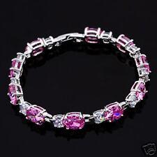 Brilliant Pink CZ Diamond White Gold Plated Bracelet