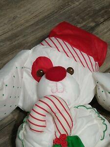 "Vtg Fisher Price Puffalump 10"" Christmas Puppy Dog Plush 1990 Candy Cane #8112"