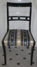 Schwarz lackierter Stuhl im Empire-Stil, Bezug wohl neu, 2.v.2