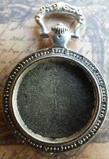 Clock watch bezel charms pendant  round silver tone steampunk