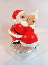 "Santa Claus Figurine 6"" Kissing Mrs Claus Red White Silver Glitter Hand Painted"