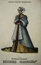 Jost Amman Tracht Kirchgang Kirche seltener alter kolorierter Holzschnitt 1577