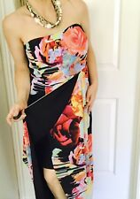 Table Eight Womens Dress Lined Strapless Floral Wrap-alike Sz 14
