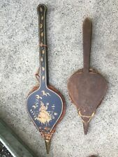 Lot Of 2 Fireplace Bellows Long Asian Scene Small Older