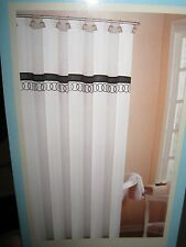 Orbit Platinum Silver Gray Black Embroidered Circles Fabric Shower Curtain  NEW