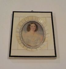 19th C. Miniature Painting, Young Woman with Hair in Ringlets (#3)