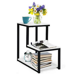 3-Tier Side End Table Modern Sofa Coffee Table Wooden Lamp Nightstand Metal Fram