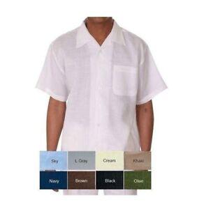 Men's 100% linen walking set (short sleeve shirt & long pant) by Milano Moda