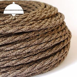 OLD BROWN - ITALIAN PREMIUM THICK Vintage fabric Style TWISTED 3-Core cable