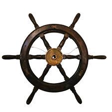 "Antique 36"" Large Nautical 6 Handle Vintage Wooden Ship Wheel, 0317JW"