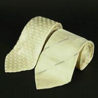 Sale! Auth GIORGIO ARMANI Logos Stripe Circle Silk Neck Tie 2P Set 6141