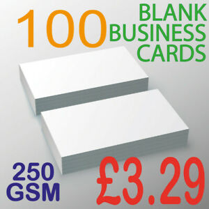 100 Blank Business Cards 250SM Premium Card Same Day Dispatch FAST & FREE