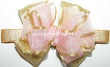 Blush Pink Gold Bow Headband Organza Ribbon Infant Hair Band Accessories by Me