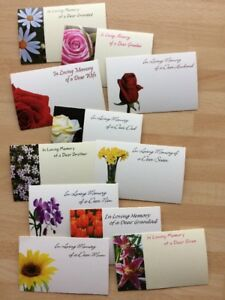 25 Assorted Relatives Remembrance Flower Small Florist Cards Mum Dad Gran Sister