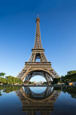 Reflection Eiffel Tower Paris France Photo Art Print Poster 12x18 inch