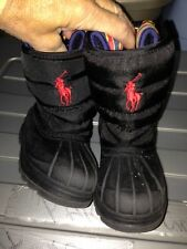 POLO TODDLERS BLACK WINTER BOOTSRalph LAuren Size 7  toddler euc