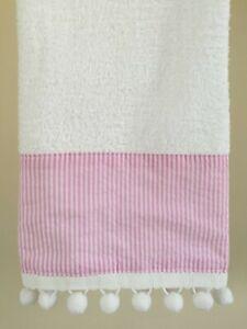 PINK SEERSUCKER Hand Towel (1) White 100% Terry Cotton POM POM Trim NEW UtaLace
