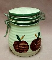 """Alco Industries 4.5"""" White green Trim Locking Lid Canister Red Apples Stoneware"""