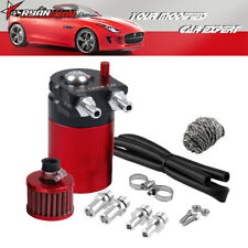 Oil Catch Can Tank With Breather Polish Baffled 3 Adapters Black Red Aluminum