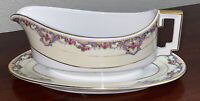 Heinrich & Co Selb Pink Roses Floral Pattern Attached Gravy Boat
