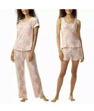 Lucky Brand Pajama Lounge 4 PC Size LARGE  Peach Floral  Knit Stretch NEW