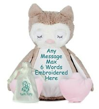"""Personalised 15"""" OWL TEDDY BEAR Tooth Fairy Friend + Pouch Birthday New Baby"""