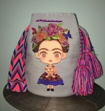 Authentic 100% Wayuu Mochila Colombian Bag Large Frida Kahlo Cartoon bling