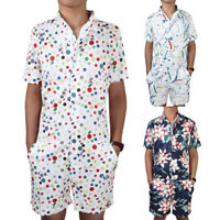 Men's One-Piece Floral Printed Jumpsuits Overalls Holiday Playsuit Pants Rompers
