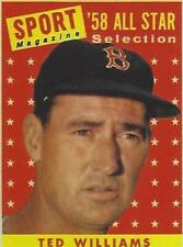 1958 TED WILLIAMS TOPPS # 485 RED SOX ALL STAR CARD RP EX-MT