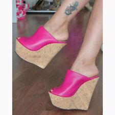 Fashion Women Heels Platform Wedges Pumps Shoes Women Fuchsia Plus Size 4-15
