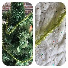 "Vintage Mardi Gras Necklace, Chartreuse 1/4"" Unsilvered Mercury Glass Garland"