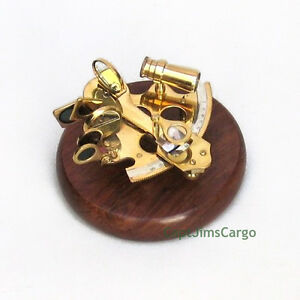 """Small Solid Brass Sextant on 5"""" Wooden Base Nautical Astrolabe Desktop Decor New"""