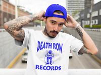 Death Row Records Blue Logo T Shirt Vintage Rap Tee Hip Hop 2Pac Dre Snoop White