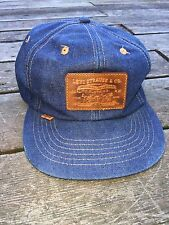 VERY RARE Levis Vintage Denim Snapback Hat Orange Tab Trucker Farm Hat