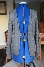 New Dark Grey with a sheen Cabled V Neck Cardigan & pocket size 12 hand knitted